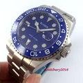 Мужские механические наручные часы Bliger  с синим циферблатом  43 мм  с керамическим ободком  светящаяся Дата  сапфировое стекло  GMT
