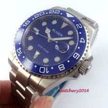 цена 43mm Bliger Blue dial ceramic bezel Luminous hands Date Sapphire Glass GMT Automatic Movement Men's Mechanical Wristwatch онлайн в 2017 году