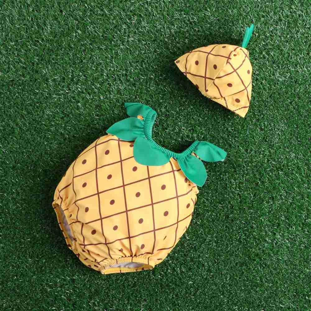 Jednoczęściowy słodkie stroje kąpielowe dla dzieci z kapeluszem - Odzież dla niemowląt - Zdjęcie 1