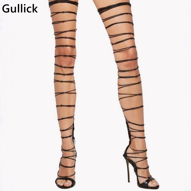 Women Faux Snakeskin Print Leather Gladiator Sandals Boots Over The Knee Thigh High Boots Bandage Heels Pumps Woman Size 10 faux suede gladiator retro army boots over the knee women snow boots winter thigh high boots shoes woman green botas size 35 43