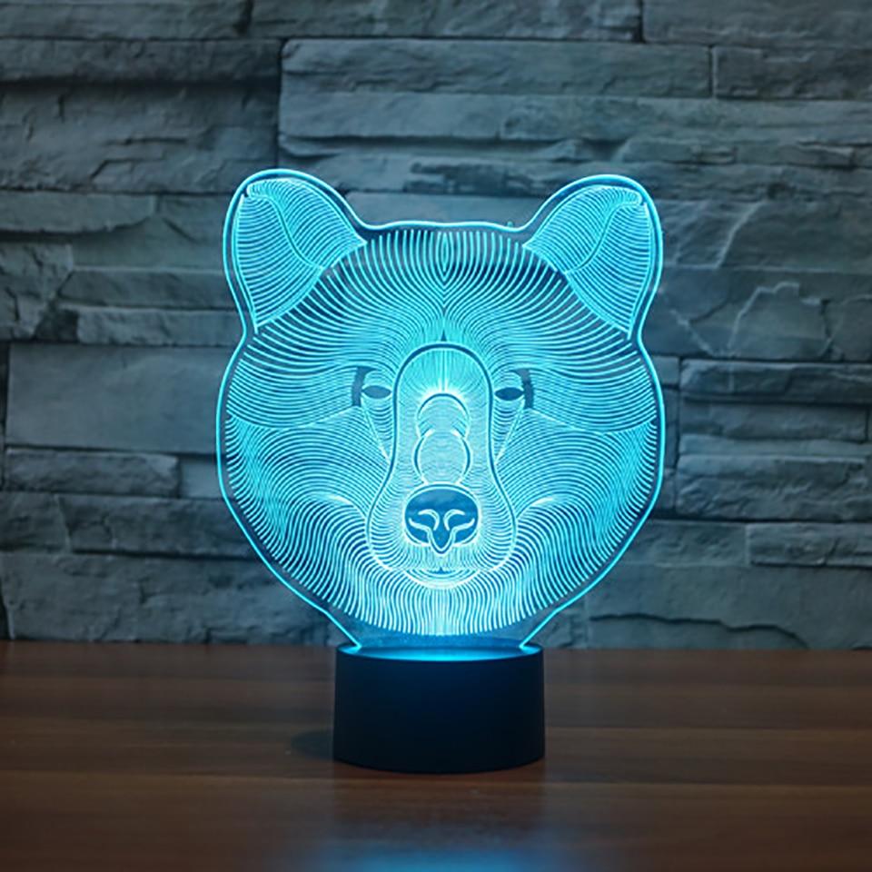 USB LED Animal Night Light Baby Sleep Lighting Touch Button 3D Bear Head Lamp 7 Color Change Lampara Home Decor Luminaria Gifts