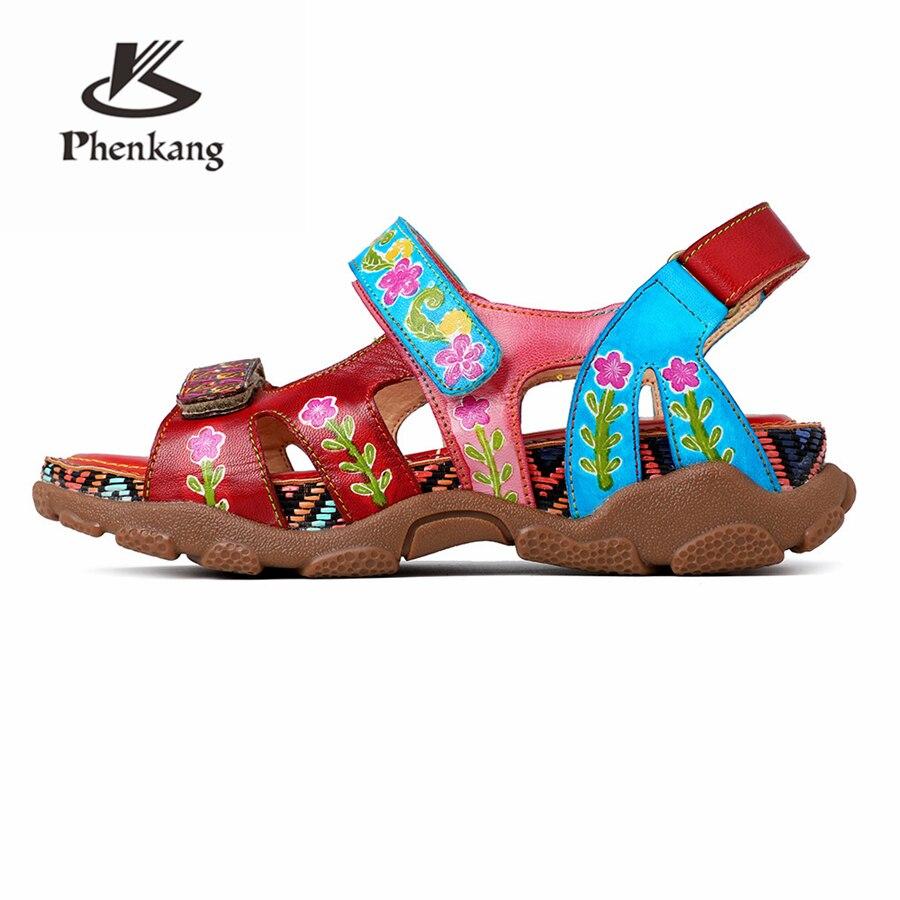Ayakk.'ten Kadın Sandaletleri'de Kadın Hakiki inek Deri rahat sandalet Terlik yaz oxford ayakkabı kadın ayakkabı oxfords flats sandalet kadınlar 2019 kırmızı'da  Grup 2