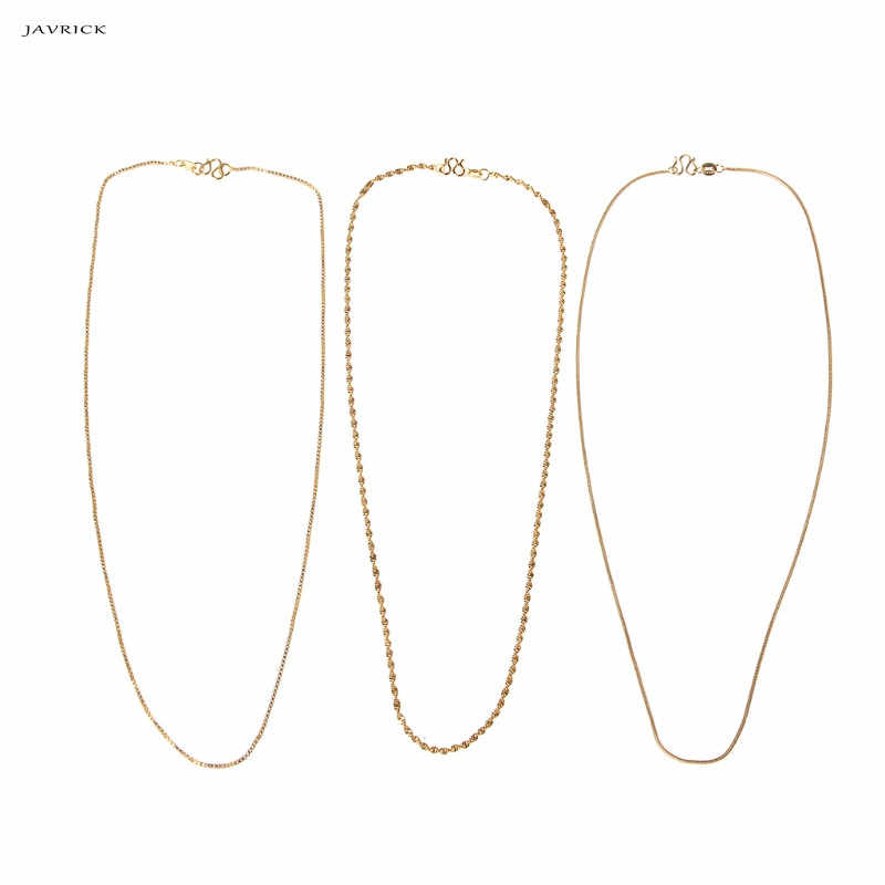 JAVRICK 24K All-match Snake Rope Chain Women Necklace Made Thin For Charms