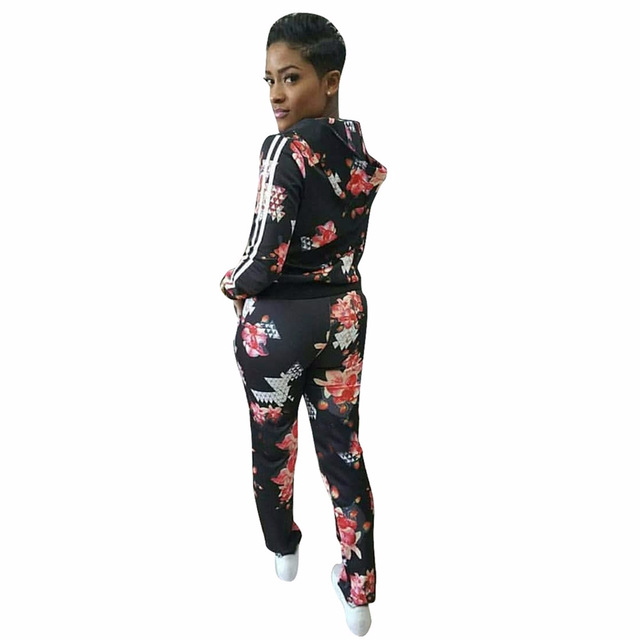 Tracksuit Set Women Two Piece Sets Spring Print Full Sweat Suits Long Sleeve Top + Pants 2 Piece Set Ld Linda Della