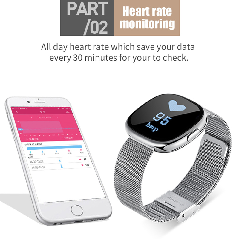 Bluetooth Smart Wristband Watch Heart Rate Blood Pressure Monitor P2 Smart Bracelet For Android Samsung IOS Xiaomi Huawei phones in Smart Wristbands from Consumer Electronics