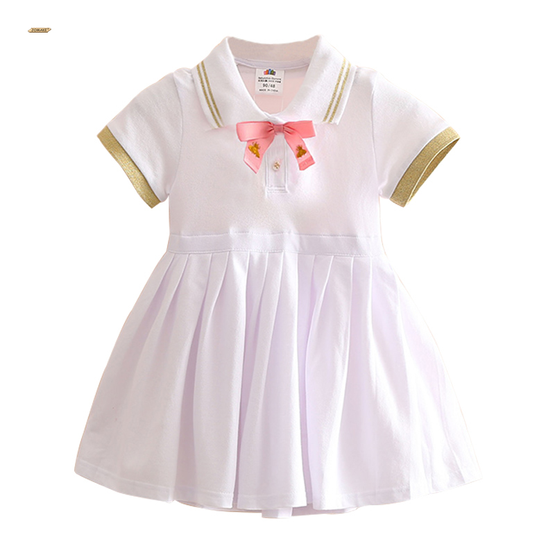 2018 Summer Girls Dress Preppy Style Kids Dresses For Girls School Baby Girl Clothes Short Sleeve Bow Children Princess Dresses new girls dresses summer 2016 short sleeve v neck rabbit princess costumes for kids chinese style a line dresses girls clothes