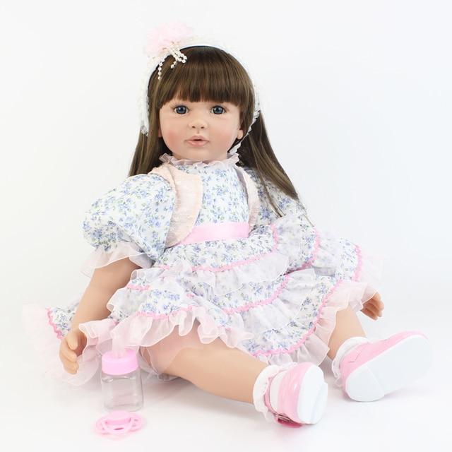 60cm Silicone Reborn Baby Doll Toy Vinyl Toddler Princess Alive Babies Doll Girl Birthday Gift Brinquedos