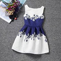 Grace daisy patterns blue white mixed colors sleeveless Oneck casual girls dress knee-length fashion design dresses girl clothes