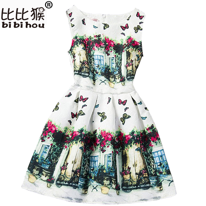 8c41da69481e 2019 Dresses for Girl Summer Print Kids 12 Years Old Dresses Girls ...