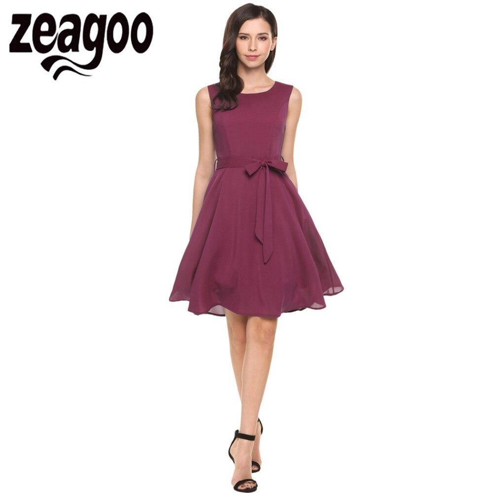 Zeagoo női chiffon ruha elegáns magas derék tartály ruha nyári alkalmi fél swing ujjatlan ruha öv női ruhák XL