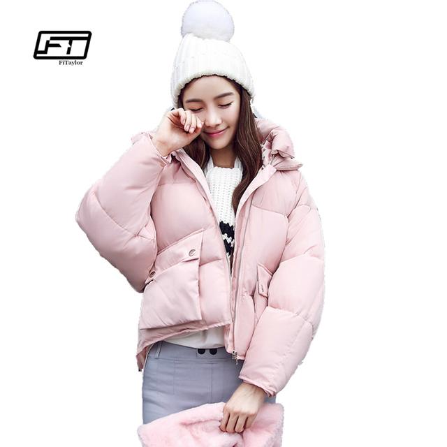 Winter Fashion Women Jackets Short Design Cute Cotton Padded Pink Coats Causual Warm Hoodies Loose Padded Parkas Casaco Feminino