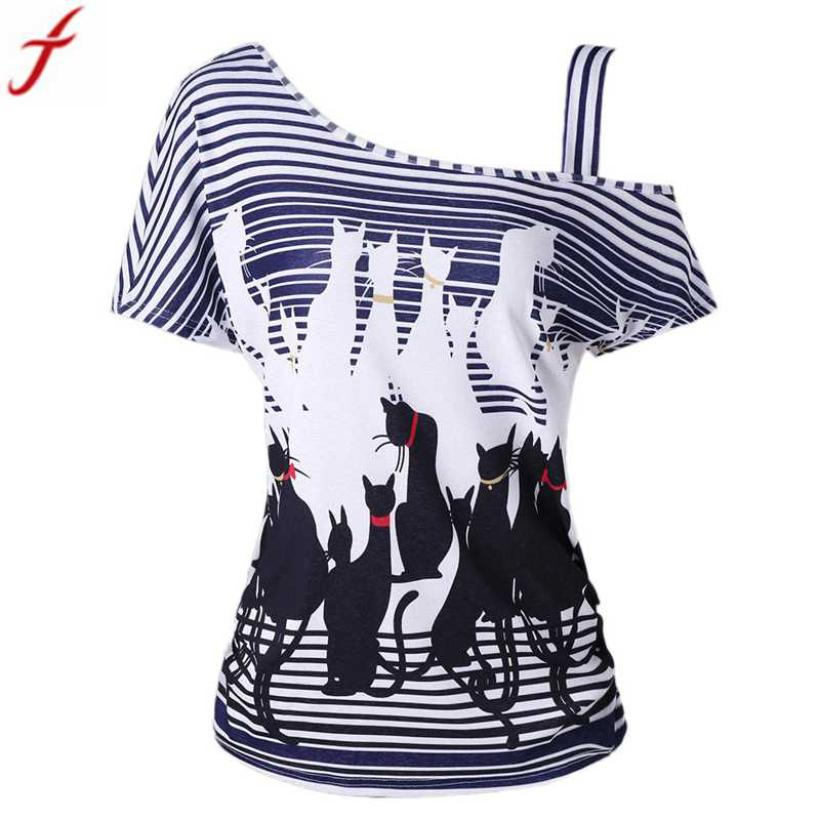 Summer Women  One Cold Shoulder Blouse Casual Plus Size Black Cat Printed Short Sleeve women Tunic shirts blusas de mujer moda Блузка