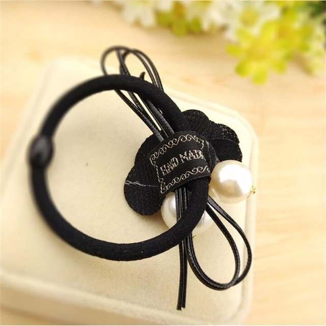 1PCS Lovely Rose Pearls Elastic Hair Bands Toys For Girls Handmade Bow Headband Scrunchy Kids Hair Accessories For Womens 2018