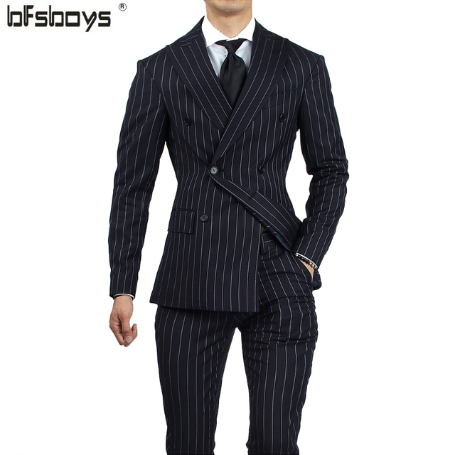 Hot Sale  2016 men's fashion casual vertical stripe  male slim double-breasted Brand  suits A147--YH028