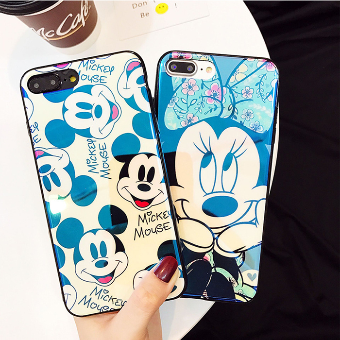 Blu Ray Laser Mirror Cute Mickey Minnie Phone Case for iPhone 8 7 Plus Soft Tpu Back Cover For iPhone 6 6s Plus For iPhone X