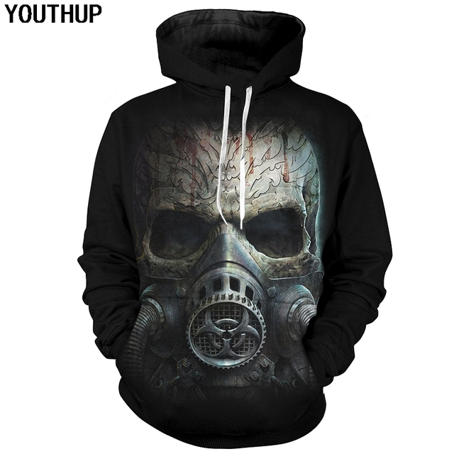 cb54c040e167 YOUTHUP 2018 Skull 3d Hoodies Men Hip Hop Hoodies Skull With Gas Mask Print  Rock Hooded Sweatshirts Men 3d Pullover Tracksuits