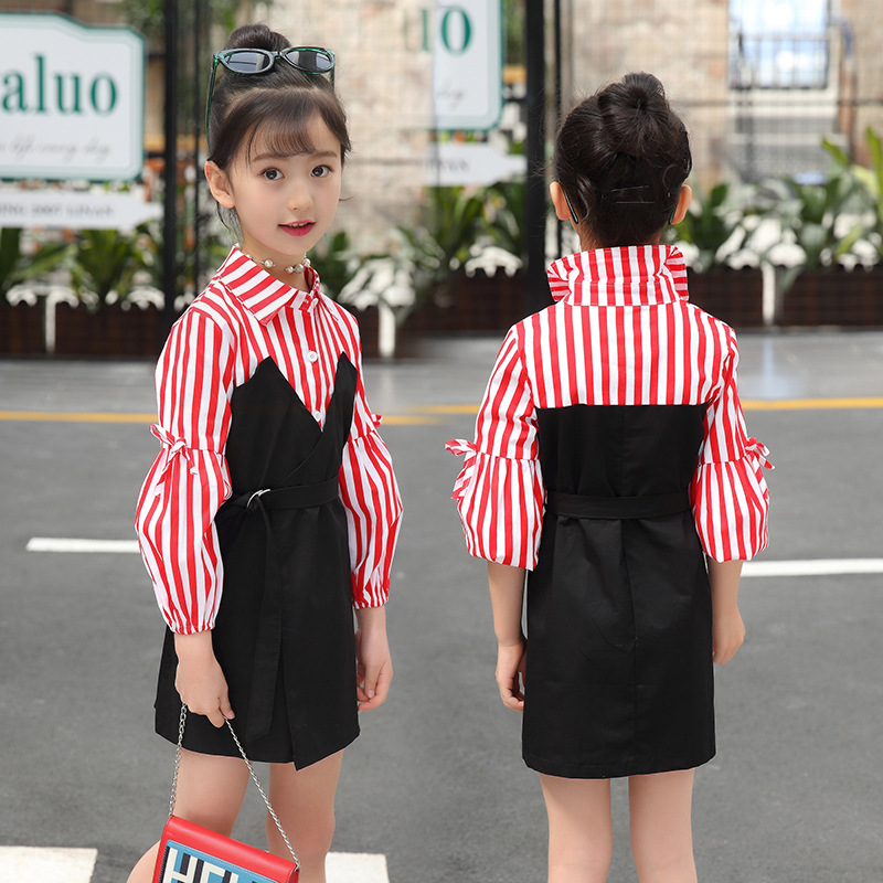 2018 Girl's Fashion Loose Turn Down Collar Long Sleeve Striped Mini Dress Kids Baby Clothes Children Princess Fake 2 Piece Dress girl dress princess autumn 2018 fashion flowers embroidery denim dress girls long sleeve turn down collar kids clothes b0659