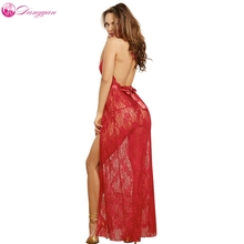 DangYan hot Pluse Size Red Backless Halter erotic Dress with G-string transparent sexy costumes open crotch sexy lingerie