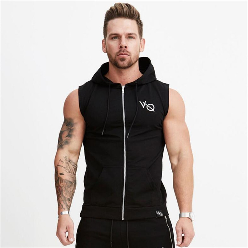 New Fitness Men Bodybuilding   Tank     Tops   Sleeveless Hoodies Vests Gyms Clothing Singlet Cotton Shirts Fashion Workout Clothes