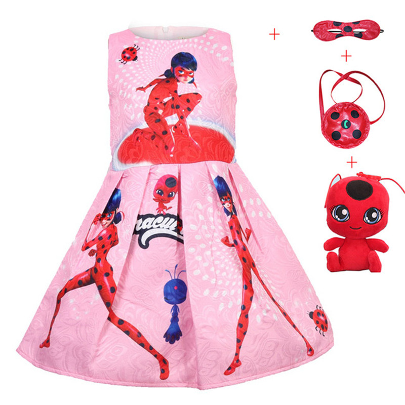 New hot sale Moana Ladybug Dress Baby Children's Clothing Kids Lady bug Party Dress for Girl Clothes xmas Gown toy mask Bag