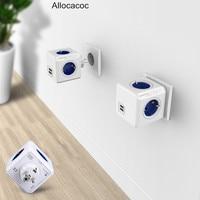 Allocacoc בית חכם PowerCube Socket האיחוד האירופי Plug 4 שקעים 2 יציאות USB מתאם כוח הרצועה הרחבה מתאם רב החליף שקע