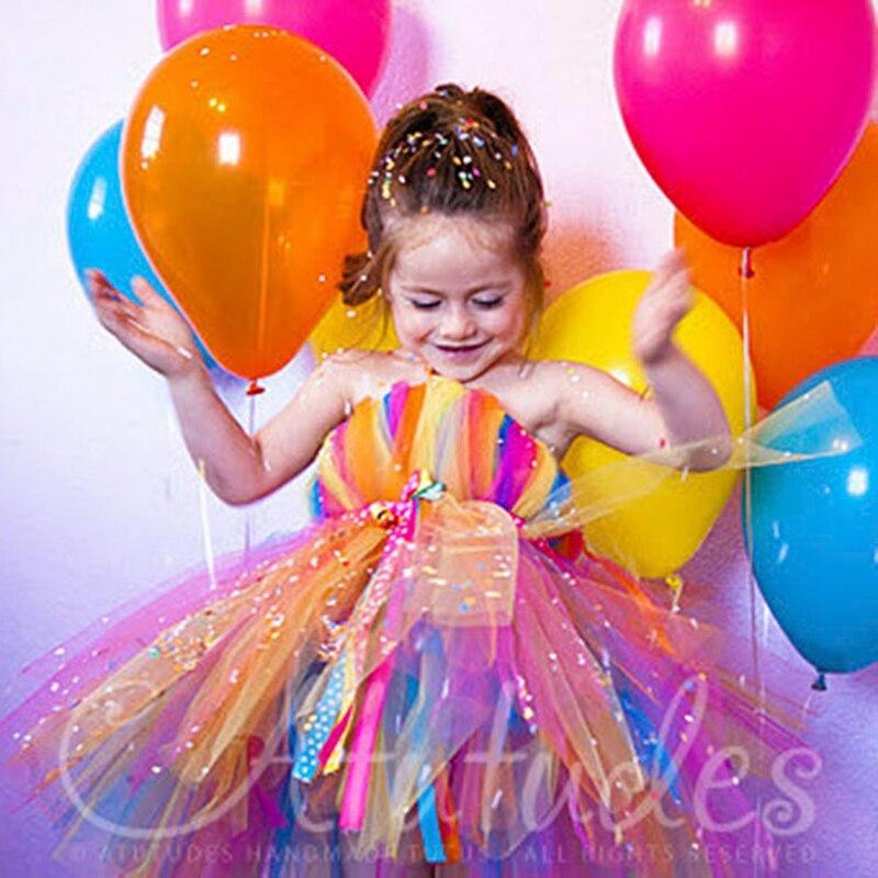 2018 colorful Rainbow Tutu Dress Flowers Girl Birthday Party Halloween Christmas Children Handmade Dress Spring Summer Clothing children girl tutu dress super hero girl halloween costume kids summer tutu dress party photography girl clothing