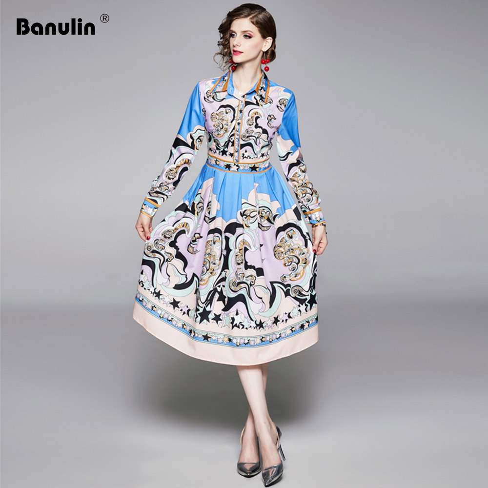 Banulin Runway Autumn Long Sleeve Midi Shirt Dress Women 39 s Vintage Floral Print Female Fall Knee Length Dresses Vestdios in Dresses from Women 39 s Clothing
