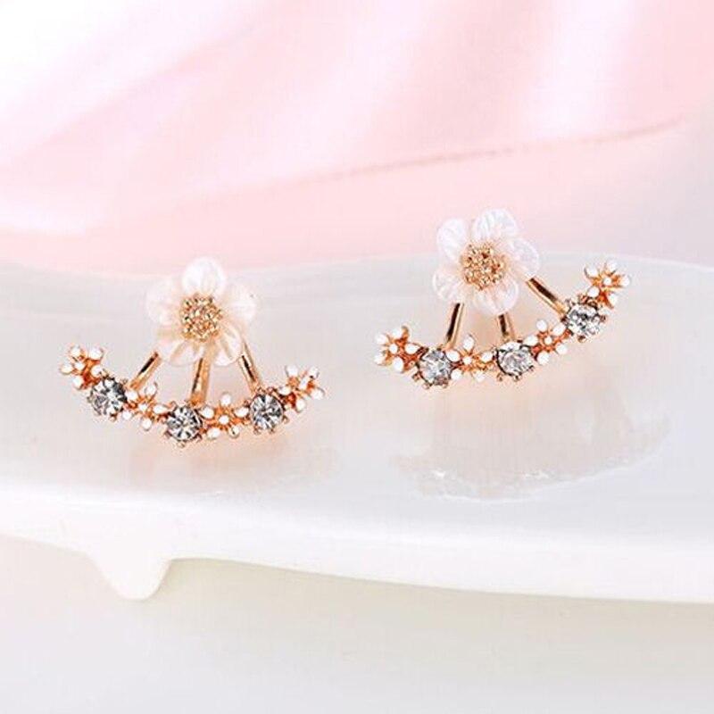 3ad1d7a5b07 US $0.96 35% OFF Zircon Crystal 3 Colors Rose Gold Ear Cuff Clip Daisy  Flower Stud Earrings For Women Jacket Piercing Earrings Fine Jewelry-in  Stud ...