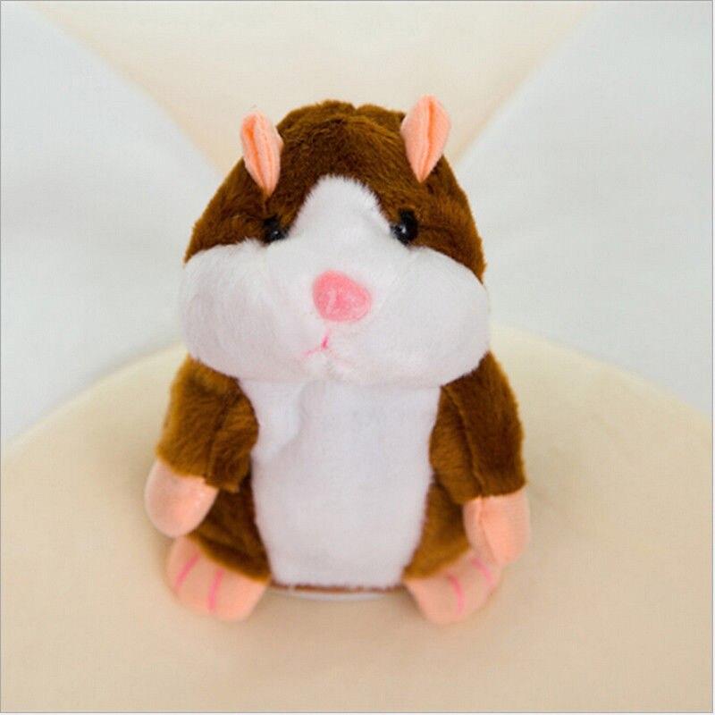 Мода США говорящий хомяк повторяет то, что вы говорите плюшевый хомяк повторяет кукла игрушка ребенок подарок - Цвет: Brown 15cm nod talk