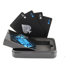 Pure Black Plastic Playing Cards,Magic Poker Card the Collection Gathering Bridge Bidding Cards PVC Playing Paper Box/Tin Box