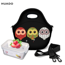 waterproof lunch bag tote with zipper owl image Lunch Picnic Cooler Bag neoprene Lunch Box Bag цена