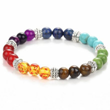 Tiger Eye Stone Bracelets Multicolor Resin Beads Chakra Energy Wristband Bangles bijoux Rope Chain Women Men Jewelry(China)
