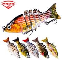 6pc/lot New 2015 6 Sections Fishing Lure 8.5cm/3.35 0.38oz/10.8g Swimbait Fishing bait 6# Black Hook Fishing Tackle