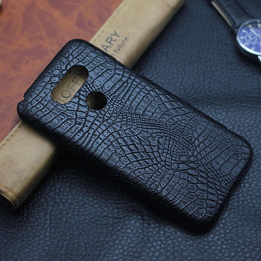 Slim Hard Leather Back Case For LG G7 ThinQ G5 Cover Luxury Crocodile grain Shockproof Cases For LG G6 V30 Cover  Funda Coque
