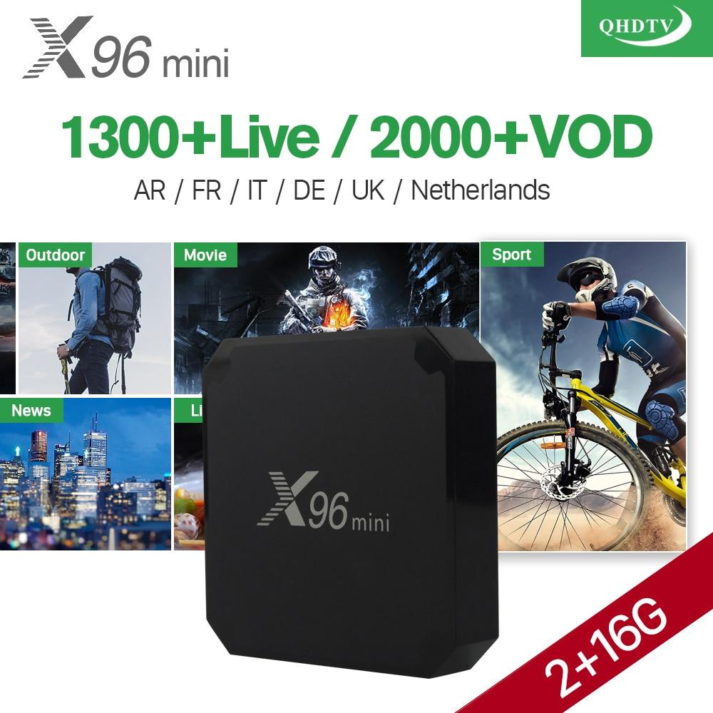 Box IPTV arabo X96 mini Android 7.1 Smart TV BOX 16 gb 1 Anno di QHDTV Codice X96MINI Europa Belgio Olandese francese Italia IPTV Top Box