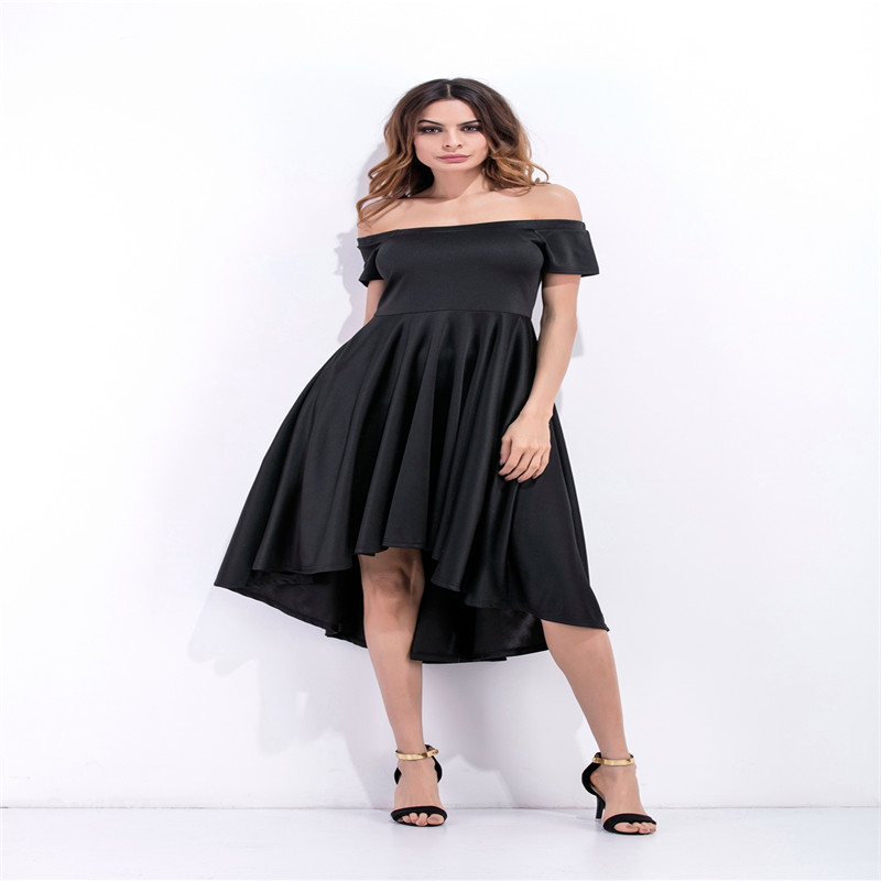 2017 the best selling Off Shoulder short sleeved Big swing swallowtail dress