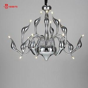 Image 2 - Modern Led Swan Chandelier Lighting With G4 Led Bulb Chandeliers For Living Room Bedroom Nordic Design Wrought Iron Chandelier