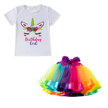Summer Baby Girl Clothes Unicorn T-shirt Rainbow Tulle Tutu Skirt 2pcs Sets First Birthday Outfits Party Dance Pettiskirt 4th of july girl tulle tutu skirt headband 2pcs sets toddler baby girls clothes blue white red kids mini mesh rainbow pettiskirt