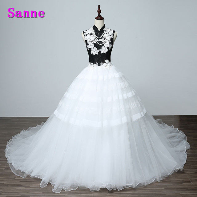 New Design High Neck Prom Dress Black and White Evening Dresses With ...
