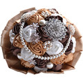 Red purple coffee blush colors handmade luxury satin artificial roses bridal bouquet for wedding with pearls brooches