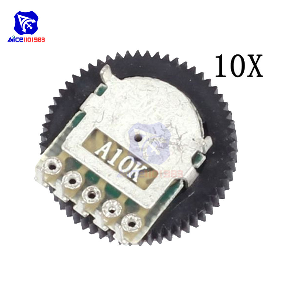 10PCS/Lot Volume Wheel Gear Potentiometer A10K 10K Ohm 5 Pin Single Linear Dial Wheel Potentiometer Stereo Volume Level Control