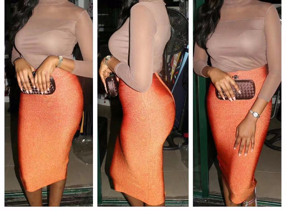 21 Fireworks Colors Ladies Hl Bandage Skirts Knee Length Sexy Bodycon Skirts Op Quality Limpid In Sight