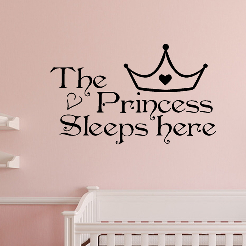 Bedroom wall art quotes - Aliexpress Com Buy The Princess Wall Stickers Sleeps Here Wall Decals Home Decor Wall Art Quote Bedroom Wallpaper Wall Sticker 22 36cm Hg Ws 2315 From