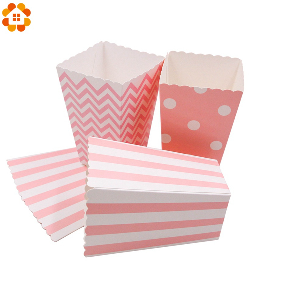 12PCS Pink Popcorn Cup For Baby Shower Happy Birthday Party Wedding Candy Box Christmas Decoration Event & Supplies