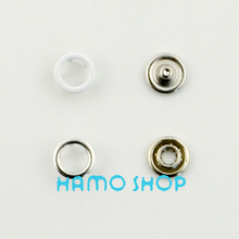 100pcs/lot Free Shipping 9.5mm White Metal Snap Button Prong Fastener Ring Garment Accessoires