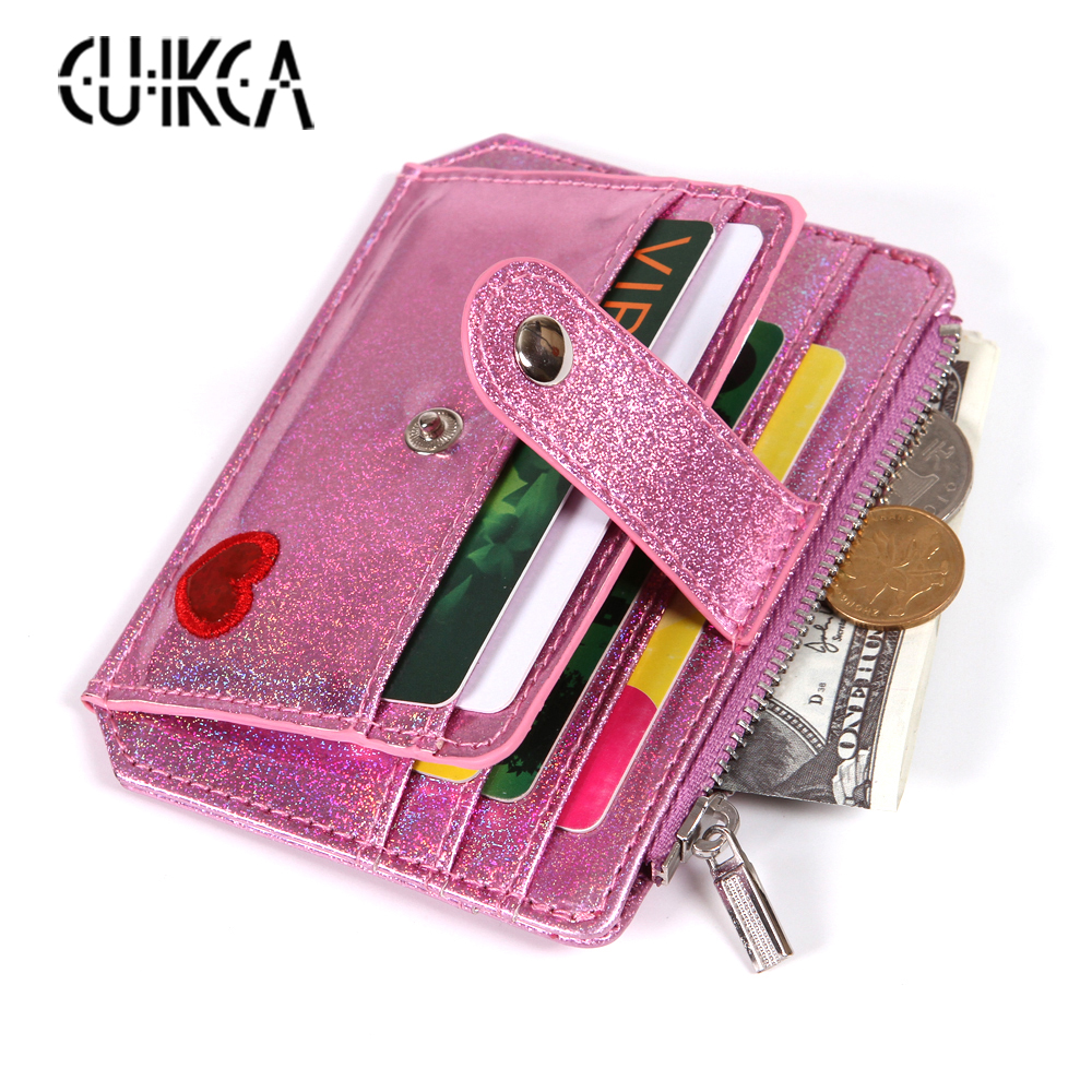 CUIKCA Women Wallet Embroidery Heart Shine Glitter Leather Slim Wallet Candy Color Zipper Coin Purse Hasp ID Credit Card Holder
