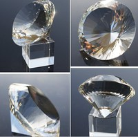 Free Shipping 1pc 150mm Transparent Multi Faceted Optical Crystal Diamond Glass Paperweight As Counter Decoration