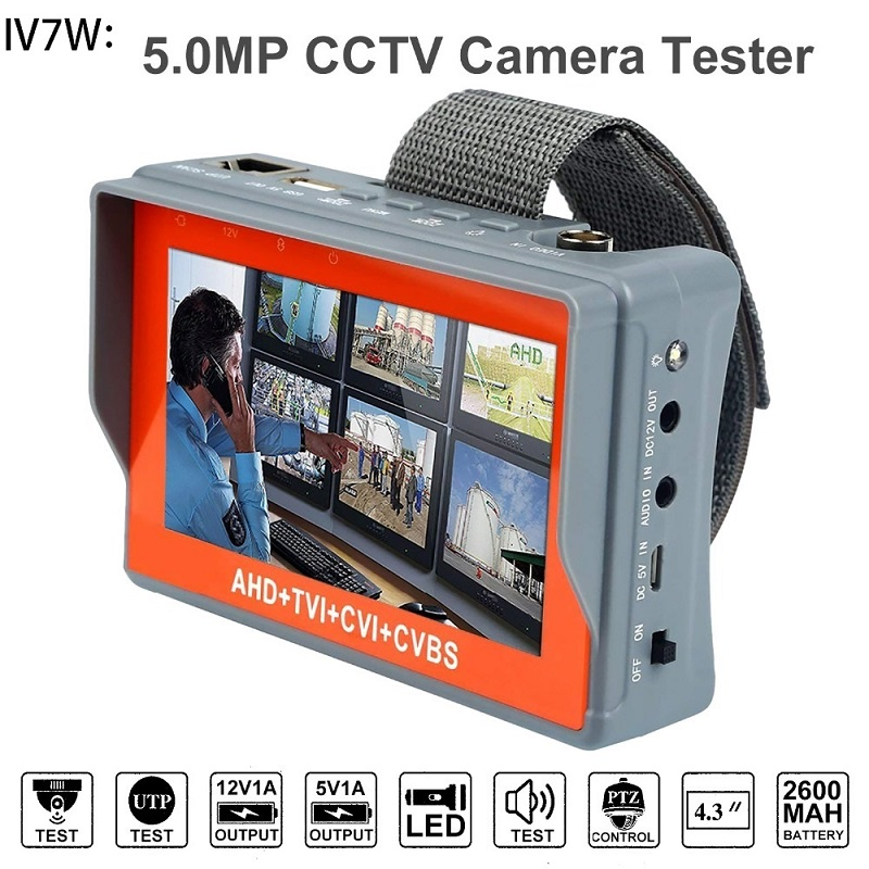 IV7W 4 In 1 AHD+TVI+CVBS +CVI Camera Tester 1080P / 5MP CCTV Tester 4.3 Inch LCD Video Test 5V/12V Power Output Cable Test