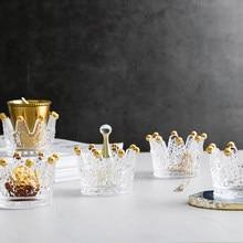 Centro de mesa de vidro criativo castiçal castiçais coroa Alívio vidro decorativo suporte de vela casa decoração do partido
