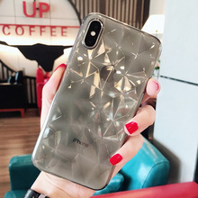 Ultra-thin rhombic phone cases for iphone 7 8 plus transparent brick stone soft shell women diamond For Apple iPhone X 6s cover